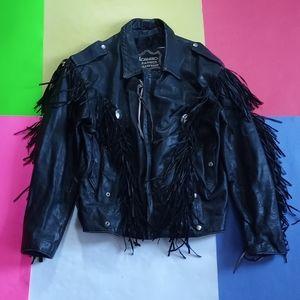 Vintage Diamond Black Leather Motorcycle Jacket